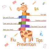 Flu Prevention Tips. Vector illustration with Royalty Free Stock Images