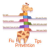 Flu Prevention Tips. Vector illustration with Royalty Free Stock Photo
