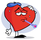 Flu Ridden Red Heart. Man vector illustration
