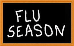Flu seasjon. Flu season written on chalkboard Stock Photo