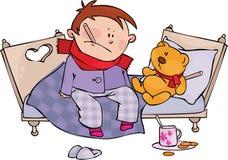 Flu Season. Sick little boy and teddy bear Stock Images