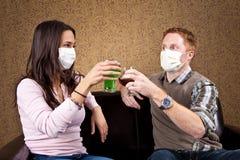 Flu season. Germaphobe couple on a date royalty free stock photos