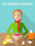Flu season ahead. Sick woman sitting at the table. Stock Images