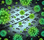 Flu Season. And seasonal outbreak of influenza and cold virus infection as a medical health care concept with a calendar background and three dimensional human Stock Photography