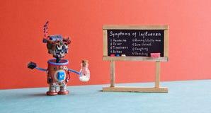 Flu season symptoms poster. Medic robot antiviral drugs tube, chalkboard with Influenza virus handwritten words Royalty Free Stock Images