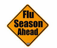 Flu Season warning sign stock photo