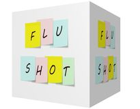 Flu Shot on Colorful Sticky notes on a 3D cube Royalty Free Stock Photo