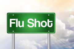 Flu Shot Green Road Sign Stock Image