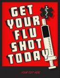 Flu shot poster notice flyer art logo. Vintage customizable medical health cold winter season doctor clinic kaiser insurance stock illustration