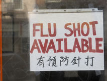 Flu Shot Sign. A flu shot available sign in San Francisco Royalty Free Stock Image
