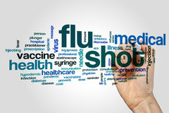 Flu shot word cloud. Concept on grey background Stock Image
