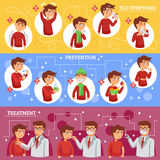 Flu Symptoms Horizontal Banners. Flu illness horizontal banners with people cartoon icons described symptoms prevention and treatment of disease vector Royalty Free Stock Photos