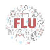 Flu Symptoms. Influenza. Treatment. Web Banner. Line icons set. Royalty Free Stock Image
