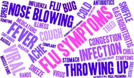 Flu Symptoms Word Cloud. On a white background Stock Photography