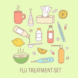 Flu treatment colorful doodle elements set Royalty Free Stock Photography