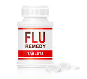 Flu treatment concept. Illustration depicting a single white and red medication container with the words 'flu remedy tablets' on the front with white background Stock Photos