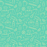 Flu treatment doodle seamless pattern. Stock Image