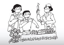 Flu vaccine. Hand drawn illustration of a mother taking her son to get anti flu injection Stock Photo