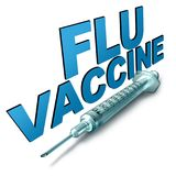 Flu Vaccine Symbol. Flu vaccine and influenza disease control treatment symbol as a medical syringe with text as medicine for protection from the deadly seasonal Stock Photos