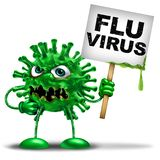 Flu Virus Character. Flu virus Flu vaccine and influenza disease health danger symbol as a medical icon mascot representing a viral cell and deadly seasonal Stock Images