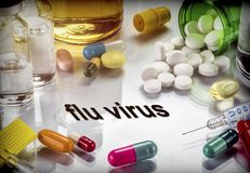 Flu virus concept of common illness in winte. R, medicines and remedies against this habitual illness royalty free stock photos