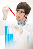 Flu virus experiment -  scientist in laboratory Royalty Free Stock Photography