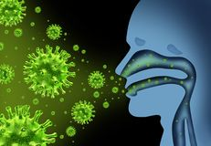 Flu Virus Medical Symbol. Flu virus spread caused by influenza with human symptoms of fever infecting the nose and throat as deadly microscopic microbe cells Stock Image