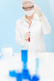 Flu virus vaccination research - woman scientist Stock Photo
