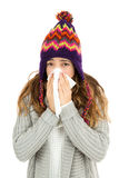 Flu woman sneezing Stock Photos