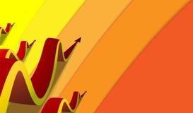 Fluage onduleux rouge de quatre flèches le long des voies colorées illustration libre de droits