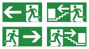 Fluchtwegsicherheitszeichen Weiße laufende Mannikone auf Grünrückseite lizenzfreies stockfoto