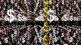 Fluctuación en espacio del arsenal de los símbolos del dólar stock de ilustración