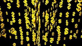 Fluctuación y rotación de los órdenes de los símbolos del dólar en espacio stock de ilustración