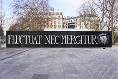 The Fluctuat Nec Mergitur City of Paris motto. PARIS, FRANCE -Fluctuat Nec Mergitur (Tossed but does not sink) is the motto of the city of Paris. It has become a stock photo