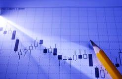 Fluctuating graph for data analysis Stock Photos