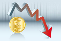 Fluctuation's dollar. The value of dollar is going down Stock Photography