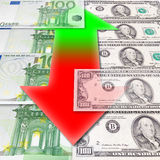 Fluctuations of exchange. Dollar - euro Royalty Free Stock Photo