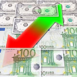 Fluctuations of exchange. Dollar - euro Royalty Free Stock Images