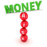 Fluctuations in financial market. Unstable construction of green word Money on the red spheres with word  Risk Royalty Free Stock Photos