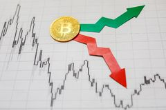 Fluctuations and forecasting of exchange rates of virtual money bitcoin. Red and green arrows with golden Bitcoin ladder on paper stock photos