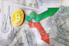 Virtual money golden bitcoin on hundred dollars bills background. Exchange bitcoin cash for a dollar stock photo