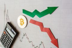Fluctuations  and forecasting of exchange rates of virtual money bitcoin. Red and green arrows with golden Bitcoin ladder on gray royalty free stock images