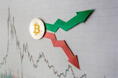Fluctuations  and forecasting of exchange rates of virtual money bitcoin. Red and green arrows with golden Bitcoin ladder on gray stock photos