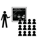 Flue prevention. Man giving a lecture on H1N1 swine flue prevention Stock Illustration