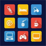 Flue Or Sick Icons Flat Design Stock Photography