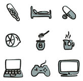 Flue Or Sick Icons Freehand 2 Color Royalty Free Stock Images