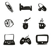 Flue Or Sick Icons Freehand Fill Royalty Free Stock Photo