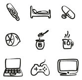 Flue Or Sick Icons Freehand. This image is a illustration and can be scaled to any size without loss of resolution Royalty Free Stock Photos