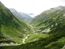 Fluelapass. Is located in Austria. It`s a beautiful hiking place Royalty Free Stock Images