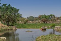 Fluent river with rocks, vegetation, fisherman and boat in afric. A. Lubango. Angola Stock Photos